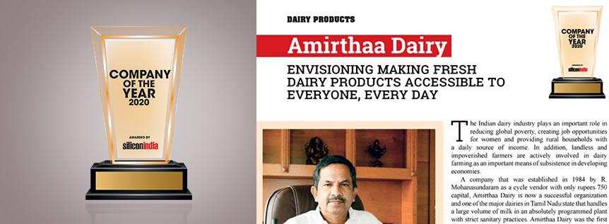 Silicon India – Amirthaa Dairy – Company of the year – 2020